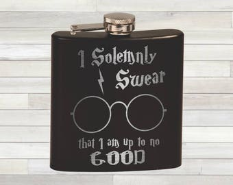 Harry Potter Marauder's Map Flask. I Do Solemnly Swear That I Am Up To No Good. Harry Potter Gift. Harry Potter Inspired. Chamber of Secrets