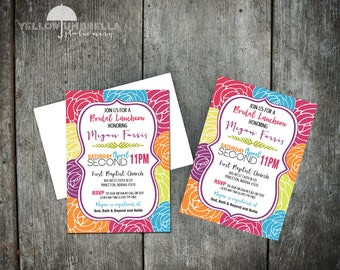 Bright Colorful Floral Bridal Invitation with Envelope - 5x7