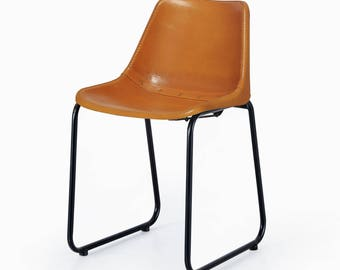 Industrial Tan Leather Bucket Chairs - Dining/Restaurant Limited stock