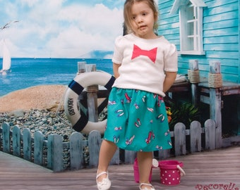 """Baby skirt in turquoise with """"shoe"""" print"""