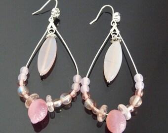 Hoop EARRINGS Silver 925 teardrop shaped, adorned with pastel pink shades of beads