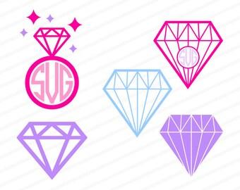 diamond ring svg, diamond ring monongram, diamond svg, diamond monogram svg, diamond dxf, diamond dxf, eps, ai,