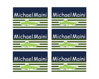 95ct Stick On Clothing Name Labels,  Kids Clothing Labels, Personalize Uniform Name Labels - Baby Clothing Alligator, Washable Labels