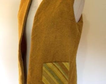 Vintage Laird Portch of Scotland pure new wool tweed vest waistcoat 60s 70s mustard yellow size large