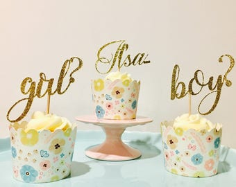 12ct boy? Or Girl? Glitter cupcake topper, Girl? or Boy? Cupcake topper, baby shower cupcake toppers, gender reveal cupcake toppers