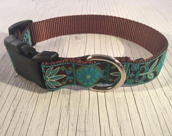 Teal Zinnia Dog Collar