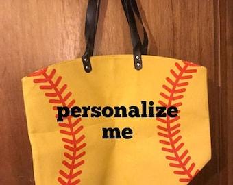 ON SALE Softball bag - baseball purse - canvas softball bag - baseball tote bag - monogrammed bag - monogrammed baseball bag - custom beach