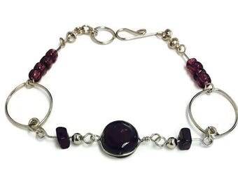 Wire Wrapped Thin Silver Bracelet, Glass Bead and Silver Wire Bracelet, Purple Bead Bracelet, White Bead Bracelet, Red Bead Bracelet