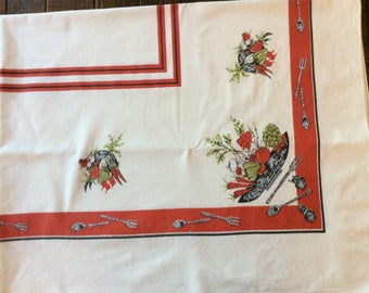 """Vintage tablecloth with vegetables. Red and green  48"""" x 61"""""""