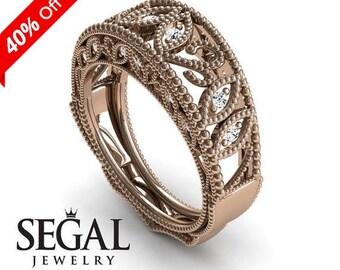 Unique Edwardian Engagement Ring Diamond ring 14K Red Gold Vintage Art Deco Edwardian Ring Filigree Ring White diamond - Gianna