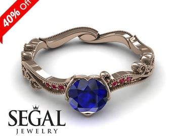 Vintage Engagement Ring Rose Gold Blue Sapphire Ring Vintage Ring 1920S Bridal Ring Edwardian Ring Vintage Engagement Ring - Sophie