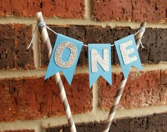 ONE Bunting Cake Topper... Big One... Baby Boy ... First Birthday... Baby Blue & Grey