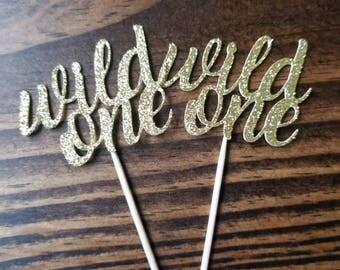 Wild One Cupcake Toppers... First Birthday... Baby Girl... Baby Boy... Party Decor... Gold
