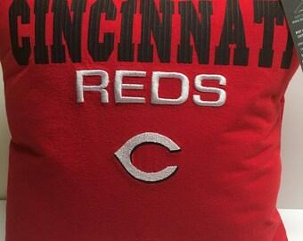 Cincinnati Ohio Baseball T-Shirt Pillow 16x16 Upcycled One of a Kind