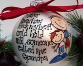 Hand painted glass Christmas ornament; Grandpa and grandson