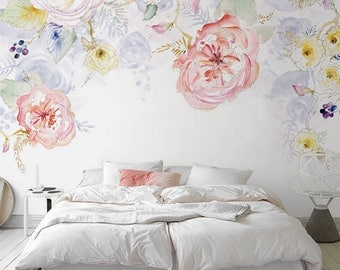 Watercolor Garden Fresh Spring Flower Leaves Wallpaper Wall - Light pink wallpaper for bedrooms