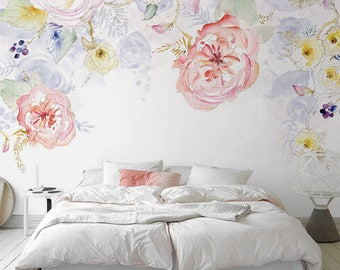 Watercolor Blooms Wallpaper Fresh Spring Flower & Leaves Watercolor Blossoms Wall Mural Art Bedroom Pink Red Yellow Light Blue Florals