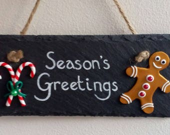 Season's Greetings sign, Christmas sign, Hanging Christmas plaque, Gingerbread man, Candy Canes, Festive wall decor, Christmas Decor, xmas