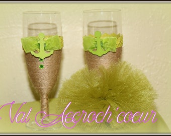 Champagne flutes personalized for the newlyweds imitation dress and suit