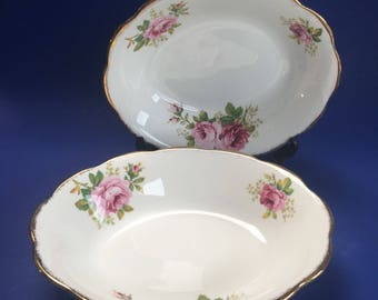"1 of 2 Royal Albert American Beauty English Bone China 9"" Vegetable Serving Bowls"