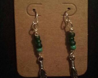 Feather drop beaded earrings