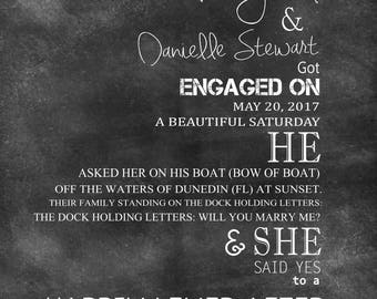 Engagement gift Personalized Engagement gifts for couples Gift for couples Engagement Present Chalkboard Engagement Gift -  [Typo 02]