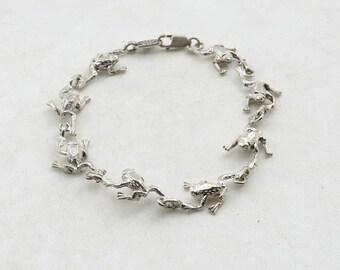 Ribbit! Darling Frog Link Sterling Silver Bracelet  #FROGS-LB3