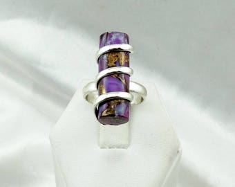 Rare Vintage Mohave Purple Turquoise Cylinder Sterling Silver Ring  #MOHAVE-SR4