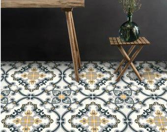 Vinyl Floor Tile Sticker - Floor decals - Medici Hand Painted Tile Sticker Pack in Charcoal & Ochre