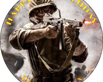 "CALL OF DUTY WW2- Design 1... Personalized 7.5"" Edible Circle Icing Cake Topper"