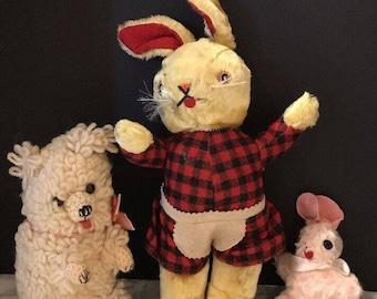 Vintage 1950's 2 Plush stuffed Rabbit toy Bunny w/ Handmade Crocheted Bear
