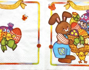 Set of 5 napkins Happy  Easter  for decoupage ,mixed media, scrapbooking and other art and crafts