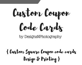 Square CUSTOM COUPON CODE Thank You cards, Custom Thank you coupon, Coupon code cards, Packaging inserts, Shipping supplies, Double sided