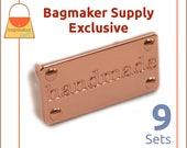 Handmade Purse Embellishment Plate, Shiny Copper / Rose Gold Finish, 9 Sets, Handbag Craft Making Hardware, Bag Bling, EMB-AA004
