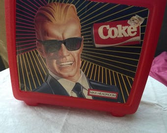 Vintage 1980's Max Headroom Aladdin Lunchbox in red with Coke Thermos