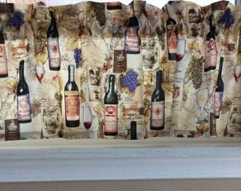 """Wine bottles and glasses Valance Curtain 42"""" W x 13"""""""