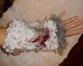 Fancy wool arm warmers mittens