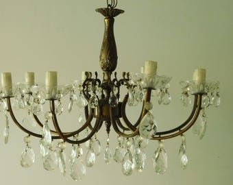 Gorgeous antique bronze chandelier with teardrop crystals  Huge 8 arm crystal chandelier  Chateau lighting
