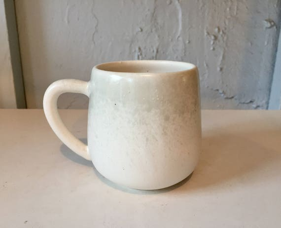 ceramic mug - handmade coffee cup - white and green- NEW!