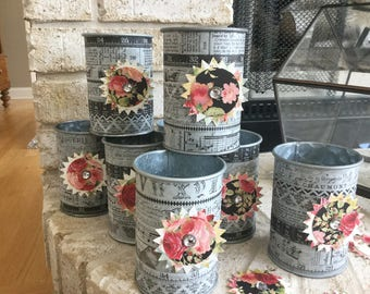 Vintage Galvanized Tin Can Holder (with interchangeable embellishment)