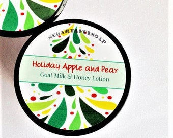 Holiday Apple and Pear Lotion, Pears, Apples, Holiday Lotion, Hand and Body Lotion, Stocking Stuffer for Her