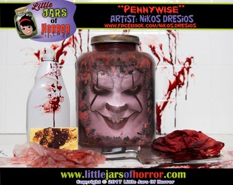 Pennywise Head in a Jar  - Halloween Decor / Horror Art / Haunted House Prop - Clown, IT, Scary