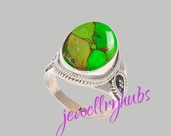 Green Turquoise Ring, Copper Turquoise Ring, Handmade Ring, Turquoise Stone Ring,925 Sterling Silver, Silver Ring, R24TRG
