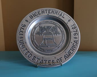 Bicentennial United States of America Decorative Metal Plate, 1976, Commemorative Plate, Collectible Plate, Liberty Bell