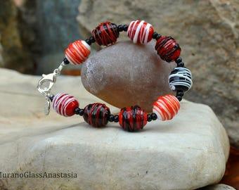 Classical black-white-red bracelet