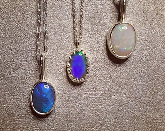 Sterling silver pendant necklaces with Australian opal