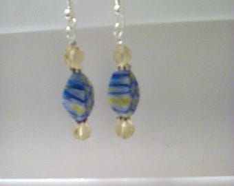 Blue/Yellow Lampwork Earrings