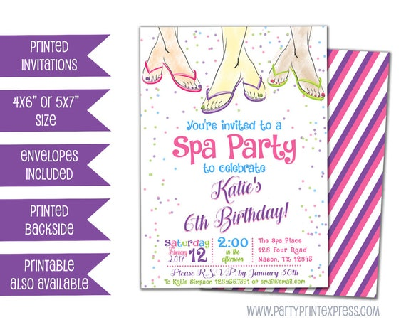 Spa Birthday Party Invitations Kids Spa Party Invitation Spa – Girls Spa Party Invitations