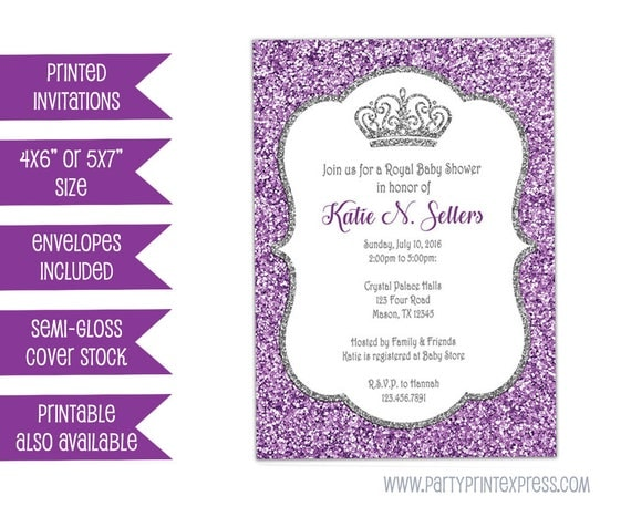 Purple glitter baby shower invitation princess baby shower invite il570xn filmwisefo Choice Image