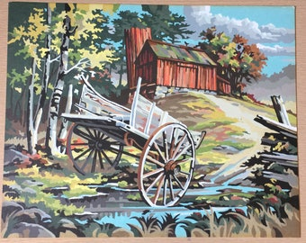 Paint by Number, Vintage Barn and Wagon, Bright Colors, 1950's, Vintage